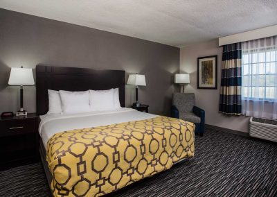 Baymont Inn and Suites Madison WI King Bed Night Stand Open Window