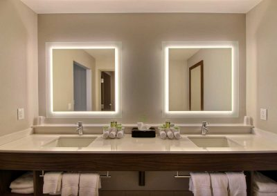 Holiday Inn Express Fond du Lac Bathroom Double Sink Double Backlit Mirrors