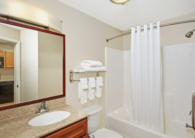 Candlewood Suites Milwaukee Airport Bathroom Tub Shower Granite Sink