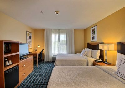 Fairfield Inn and Suites Milwaukee Airport Two Beds Window Desk Chair TV Microwave Refrigerator
