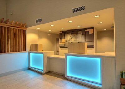 Holiday Inn Express Milwaukee Airport Front Desk Blue Lights