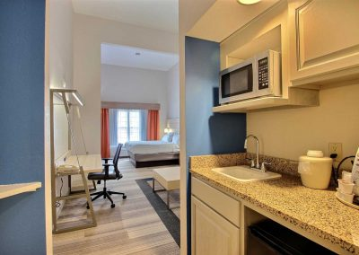 Holiday Inn Express Milwaukee Airport Suite Wet Bar Microwave Refrigerator GraniteSink Bed Desk Chair