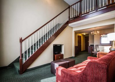 Comfort Suites Madison WI Family Suite Staircase Living Room Dining Room