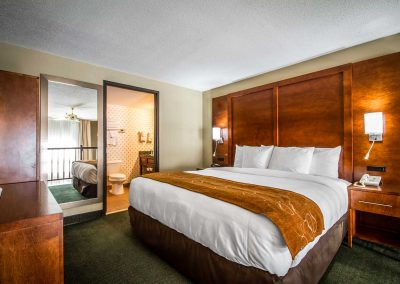 Comfort Suites Madison WI King Family Suite King Bed Bathroom Mirror