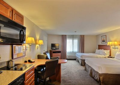 Candlewood Suites Milwaukee Airport Two Beds Studio Suite Full Kitchen Desk Chairs TV Window